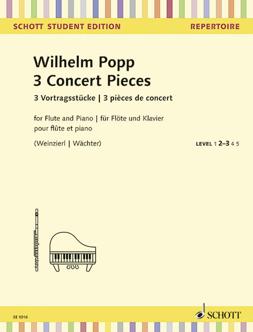 3 Concert Pieces Popp, William Flute and Piano 9790001162579